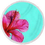 Pink Flower In Water Round Beach Towel