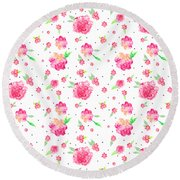 Pink Flower Pattern Round Beach Towel