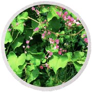 Pink Flowering Vine2 Round Beach Towel