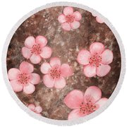 Pink Flowers Happy Garden I Round Beach Towel