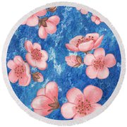 Pink Flowers Happy Garden IIi Round Beach Towel