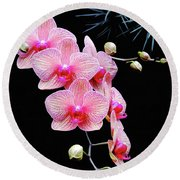 Pink Flowers Pink Vein Black Background Round Beach Towel