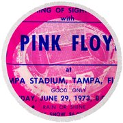 Pink Floyd Concert Ticket 1973 Round Beach Towel