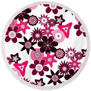 Pink Funky Flowers Round Beach Towel by Methune Hively