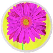 Pink Gerbera On Yellow, Watercolor Round Beach Towel