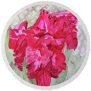 Pink Gladiolus Round Beach Towel by Sandy McIntire