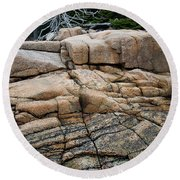 Pink Granite And Driftwood At Schoodic Peninsula In Maine  -4672 Round Beach Towel