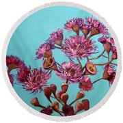Pink Gum Blossoms Round Beach Towel
