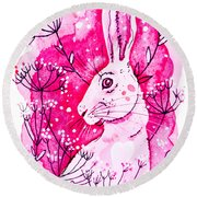 Round Beach Towel featuring the painting Pink Hare by Zaira Dzhaubaeva