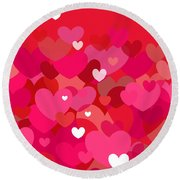 Pink Heart Abstract Round Beach Towel