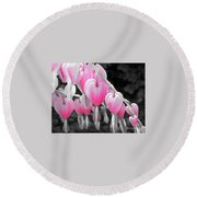 Pink Hearts Round Beach Towel