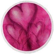 Pink Hearts Round Beach Towel