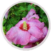 Pink Hibiscus After Rain Round Beach Towel