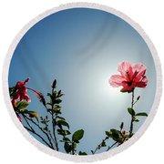 Pink Hibiscus Flowers Round Beach Towel