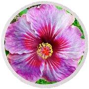 Pink Hibiscus Joyous Cosmology Round Beach Towel