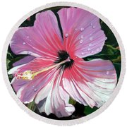 Pink Hibiscus With Raindrops Round Beach Towel by Marionette Taboniar