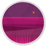 Round Beach Towel featuring the digital art Pink Hills And Purple Sky by Val Arie