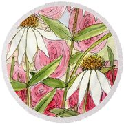 Pink Hollyhock And White Coneflowers Round Beach Towel