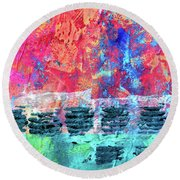 Round Beach Towel featuring the painting Pink Horizon by Nancy Merkle