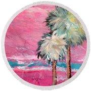 Pink Horizon Palms Round Beach Towel