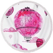 Pink Hot Air Baloons Round Beach Towel