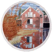 Pink House In Autumn Round Beach Towel