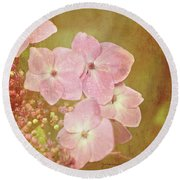 Round Beach Towel featuring the photograph Pink Hydrangeas by Lyn Randle