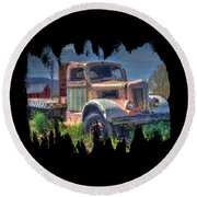 Classic Flatbed Truck In Pink Round Beach Towel