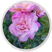 Pink-lavender Rose Trio Round Beach Towel by Sadie Reneau