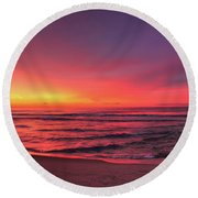Pink Lbi Sunrise Round Beach Towel