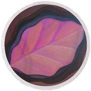 Pink Leaf Round Beach Towel