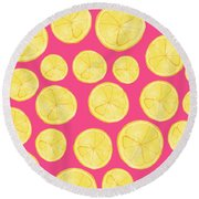 Pink Lemonade Round Beach Towel by Allyson Johnson