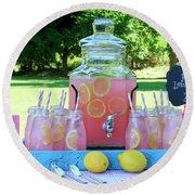 Pink Lemonade At Picnic In Park Round Beach Towel