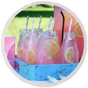 Pink Lemonade Round Beach Towel
