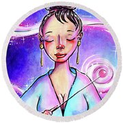 Pink Light Witch Round Beach Towel