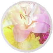 Round Beach Towel featuring the photograph Pink Lilies Yellow Mums by Cindy Garber Iverson