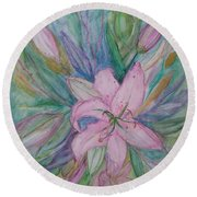 Pink Lily- Painting Round Beach Towel by Veronica Rickard