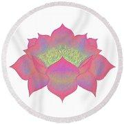 Pink Lotus Round Beach Towel