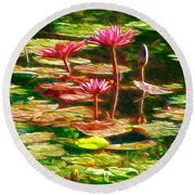 Round Beach Towel featuring the painting Pink Lotus Flower 2 by Lanjee Chee