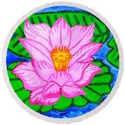 Pink Lotus Flower Round Beach Towel