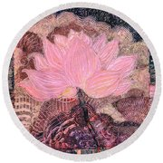 Pink Lotus Flower Round Beach Towel