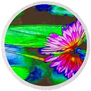 Round Beach Towel featuring the painting Pink Lotus Flower Reflection by Lanjee Chee
