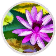 Round Beach Towel featuring the painting Pink Lotus Gallery  by Lanjee Chee