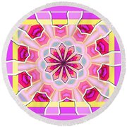 Pink Love Round Beach Towel by Shirley Moravec