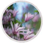 Pink Magnolia Blooms Peaceful Round Beach Towel by Mike Reid