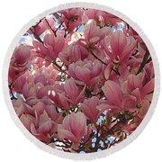 Pink Magnolia Blossoms Round Beach Towel