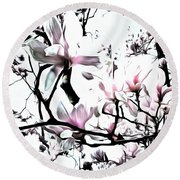 Round Beach Towel featuring the photograph Pink Magnolia - In Black And White  by Janine Riley