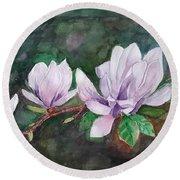 Pink Magnolia - Painting Round Beach Towel