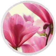 Pink Magnolias Round Beach Towel