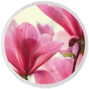Pink Magnolias Round Beach Towel by Peggy Collins